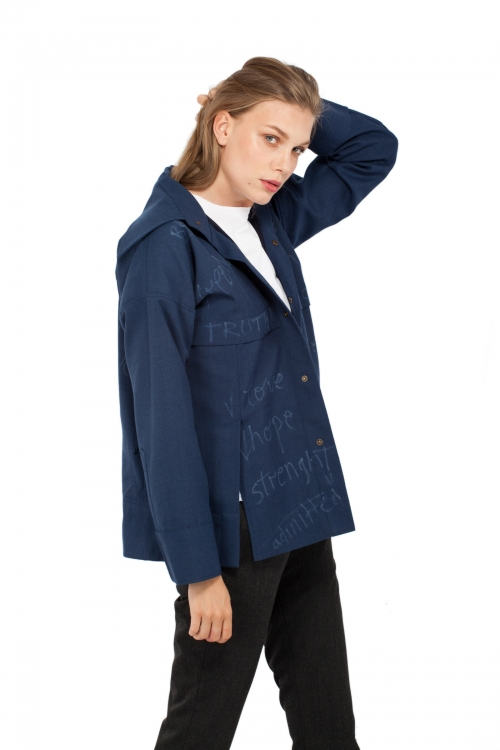 Not Your Babe Blue Minimal Jacket