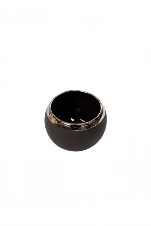 Black Ceramic Tea Cup With Platinum Rim