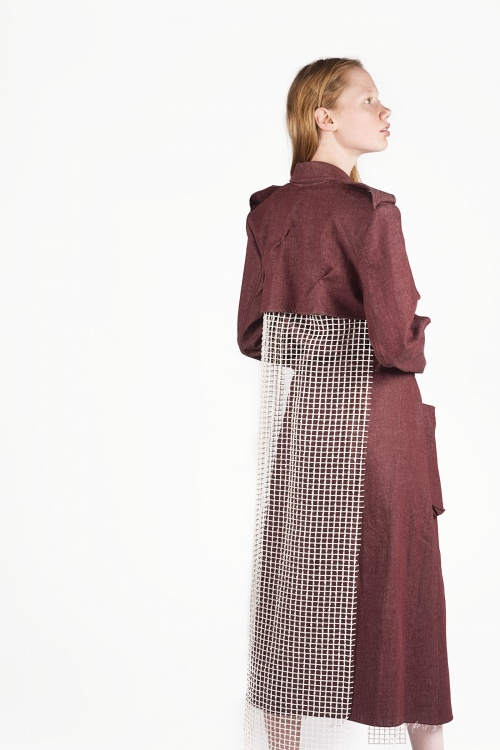 Bordeaux Joy Minimal Trench-Coat