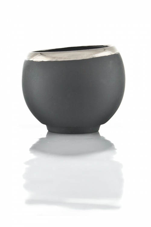 Black Ceramic Mug With Platinated Edge